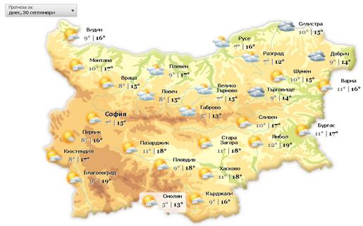 Подробна синоптична карта на България за времето по градове.