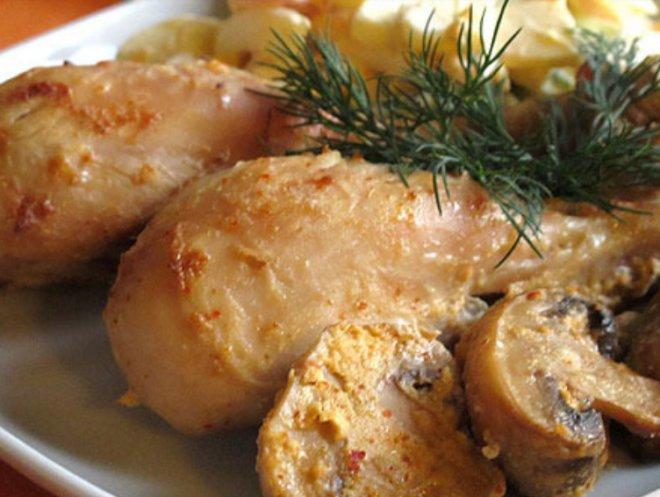 пикантно пиле с гъби