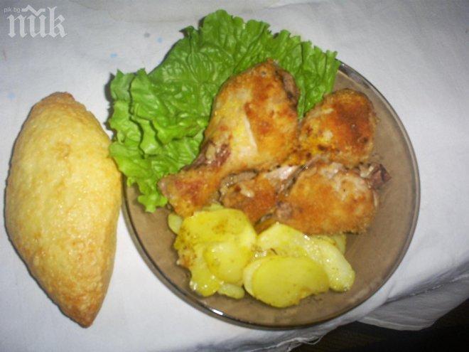 пилешки бутчета с чеснов вкус