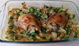 пилешко с лук на фурна