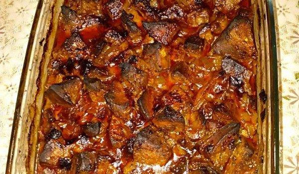свински дроб с праз на фурна