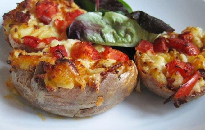 картофи с моцарела и чери доматки