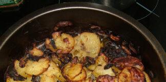 картофи с гъби и лук